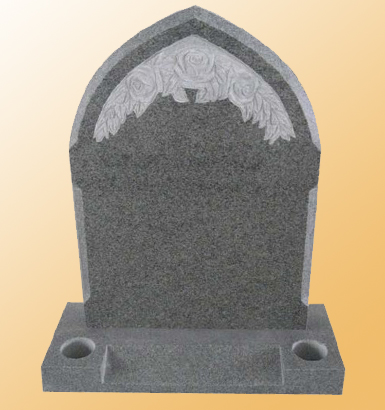 RP-2 - Gothic Shaped Memorial (with Hand Carved Roses) & Splayed Front Base